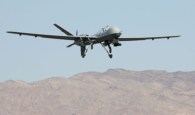 An MQ-9 Reaper takes off August 8, 2007 at Creech Air Force Base in Indian Springs, Nevada. (Photo: Ethan Miller / Getty Images)