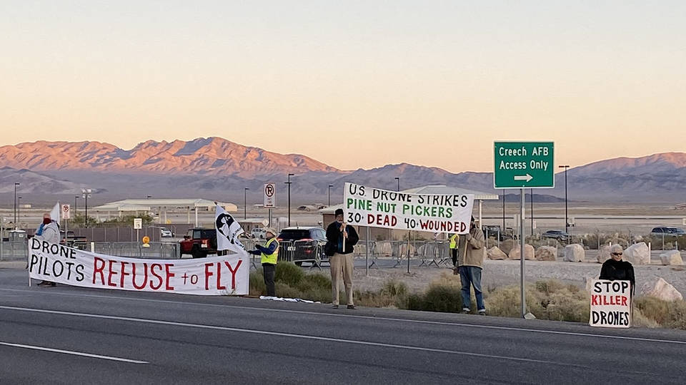 H12 nevada anti drone protest arrests air foce base creech